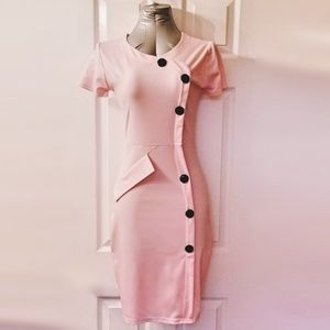 Retro-Inspired Pink Pencil Dress